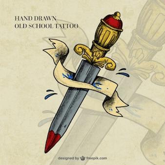 Dagger przez tatuaż wstążka