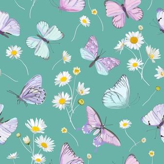 Daisy kwiaty i tło wektor motyl. wiosna bezszwowe kwiatowy wzór akwarela. letnia piękna tkanina, rustykalna tapeta, ilustracja rumianku, tkanina ogrodowa, papier do pakowania