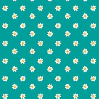 Daisy wzór na niebieskim tle