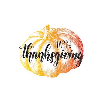 Daj dzięki wdzięczne serce - szczęśliwy dzień dziękczynienia napis kaligrafia i dyni na białym tle