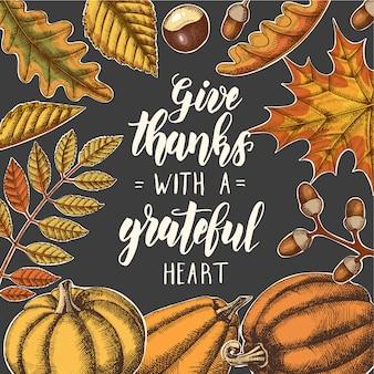 Daj dzięki wdzięcznemu sercu - święto dziękczynienia napis kaligrafii frazy.