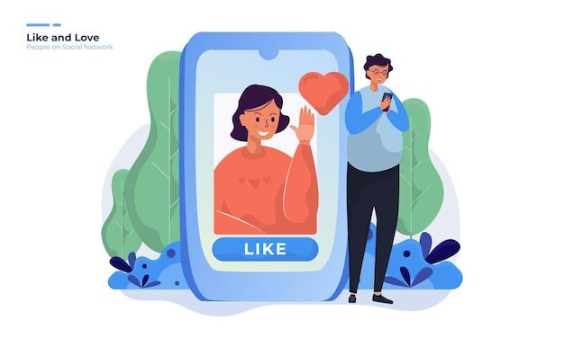 Daj Polubienie I Znak Miłości W Poście W Sieci Społecznościowej Premium Wektorów