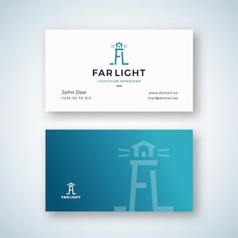 Dalekiego światła streszczenie wektor znak lub logo i szablon wizytówki