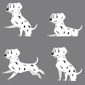 Dalmatyńczyk w różnych pozach. piękny zwierzak w stylu cartoon.