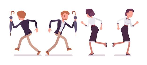 Dama i dżentelmen biegną