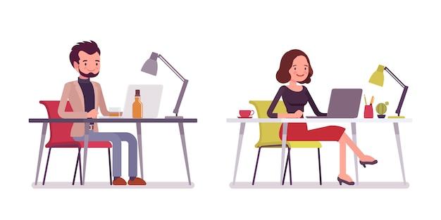 Dama i dżentelmen w pozie siedzącej, pracujący przy laptopie