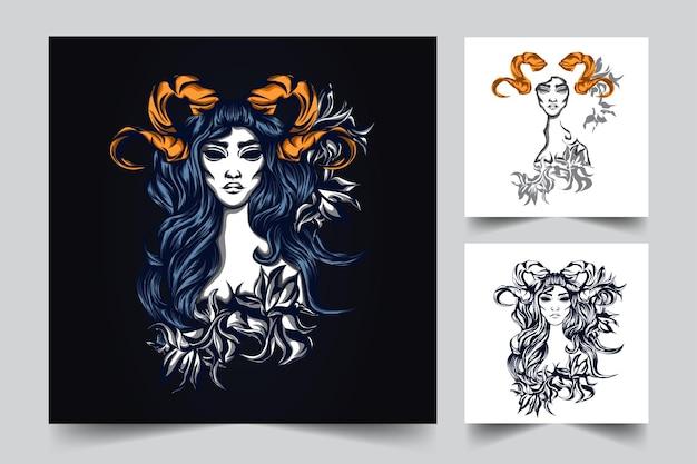 Dama róża grafika ilustracja