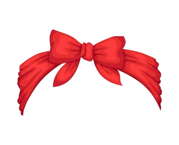 Damska opaska w stylu retro. czerwona bandanka na fryzurę. windy hair dressing z kokardą.