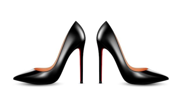 Damskie czarne skórzane buty na obcasie. realistyczna ilustracja na białym tle