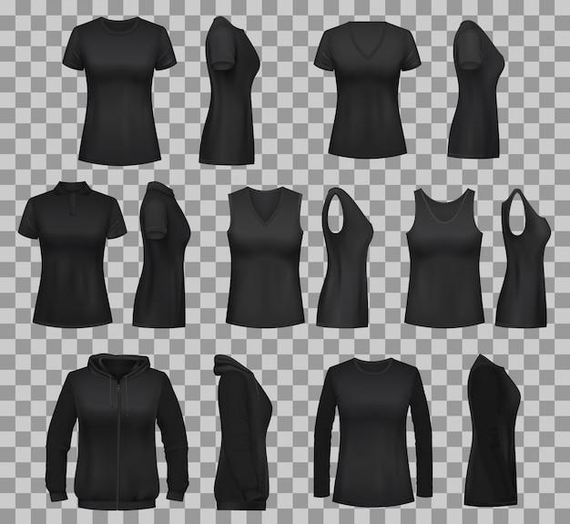Damskie szablony koszul z czarnymi t-shirtami i polo