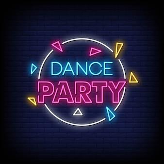 Dance party neonowe znaki styl tekst wektor