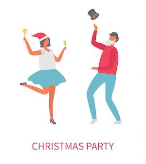 Dancingowi ludzie przy przyjęciem bożonarodzeniowym, wektorowa kreskówka