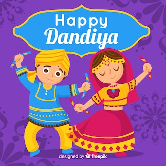 Dancingowy pary dandiya tło