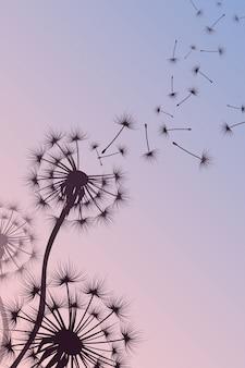 Dandelion z dmuchanie zarodników natury wektorowy abstrakcjonistyczny tło