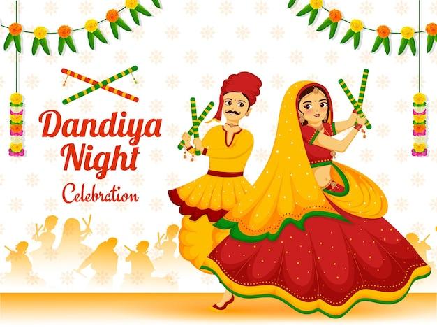 Dandiya noc celebracja karta zaproszenie projekt dla uczczenia festiwalu w indiach happy navratri.
