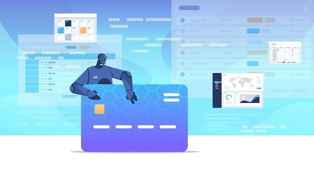Dane hakerskie czarnego robota. bezpieczeństwo karty kredytowej