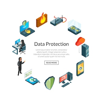 Dane izometryczne i ikony bezpieczeństwa komputera