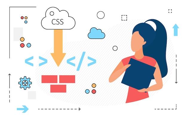 Dane online chmura postaci kobiety i ikony linii języka komputerowego na białym tle