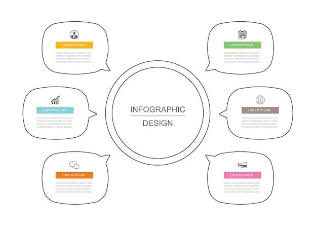 Dane optine infografiki cienka linia szablon projektu.