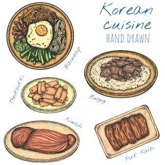 Dania kuchni koreańskiej różne jedzenie ręcznie rysowane ilustracje, na białym tle naszkicowanych zestaw.