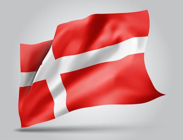 Dania, wektor flaga z falami i zakrętami macha na wietrze na białym tle.
