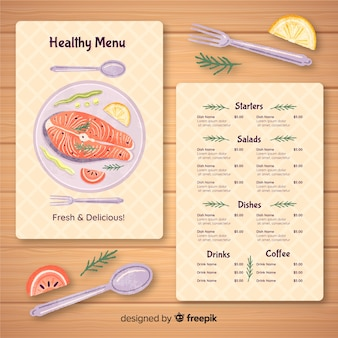 Danie rybne szablon menu organiczne