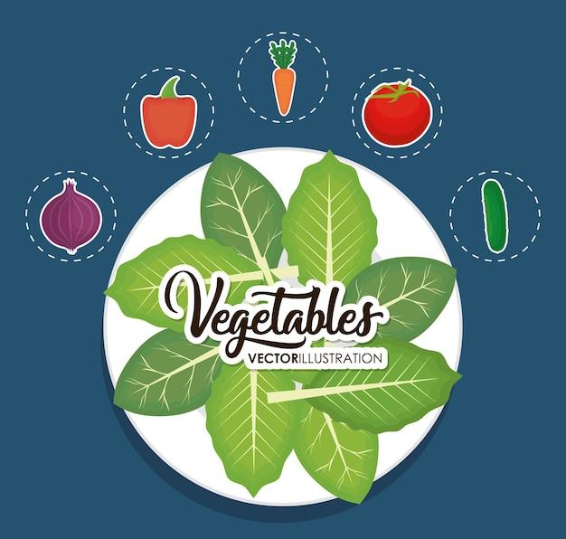 Danie z sałatą i warzywami wokół
