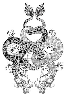 Dargon tatuaż sztuki ręcznie rysunek szkic czarno-biały