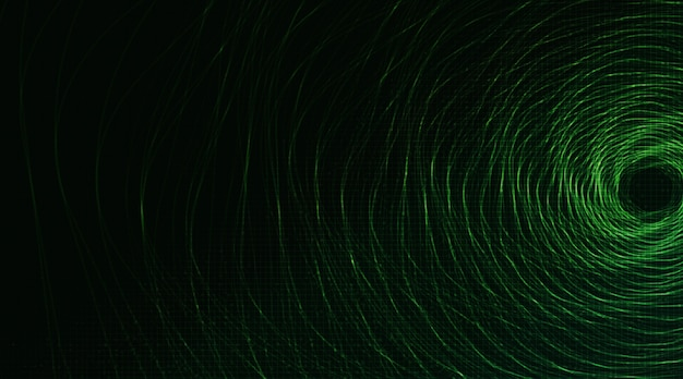 Dark green spiral circle on technology background, hi-tech digital and security concept design