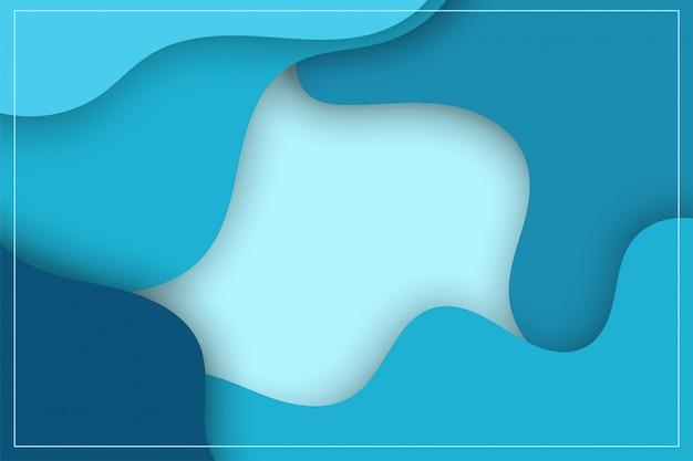 Darmowe niebieskie kształty tła, 3d i nowoczesna sztuka papieru. zostaw miejsce na tekst.