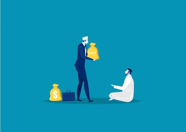 Darowizna biznesmen zakat koncepcji biednego człowieka