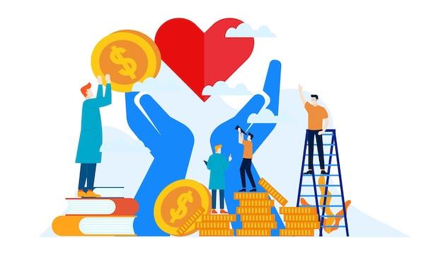 Darowizna charytatywna z wielkim sercem i dużymi rękami płaska ilustracja