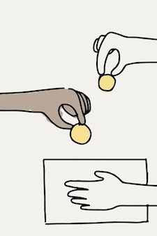 Darowizna doodle ręka wektor dając pieniądze