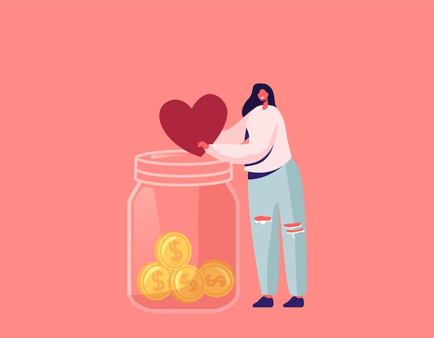 Darowizna, ilustracja charytatywna wolontariuszy