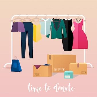 Darowizna na ubrania. dziewczyna przekazuje darowizny na ubrania. pudełka pełne ubrań. ilustracje koncepcji.