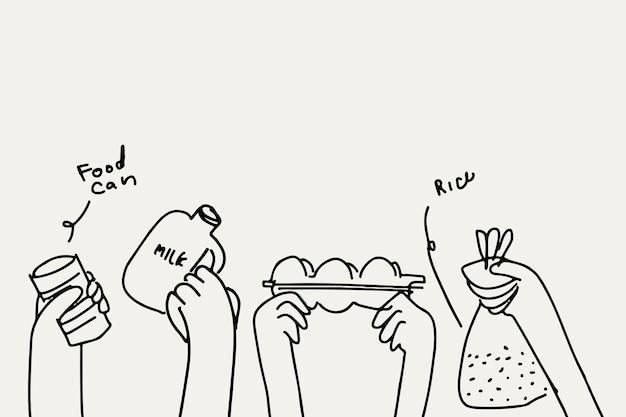 Darowizna żywności doodle wektor koncepcja charytatywna