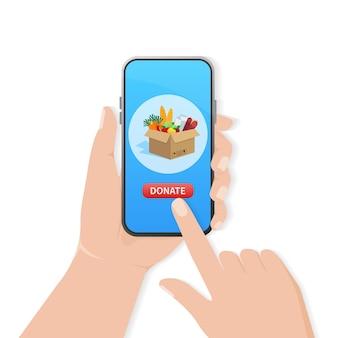 Darowizna żywności z kreskówek na projekt ulotki jedzenie w pudełku kartonowym