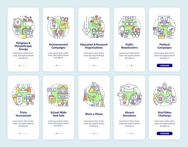 Darowizny na cele charytatywne — zestaw ekranów stron aplikacji mobilnej przy wprowadzaniu na rynek. pomysły na zbieranie funduszy instruktaż 5 kroków instrukcje graficzne z koncepcjami. szablon wektorowy ui, ux, gui z liniowymi kolorowymi ilustracjami