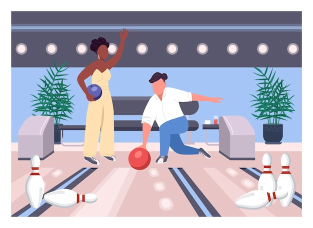 Data bowling płaski kolor. przyjaciele grają razem w grę. weekendowa rozrywka dla mężczyzny i kobiety. międzyrasowa para postaci z kreskówek 2d z wnętrzem centrum gier na tle