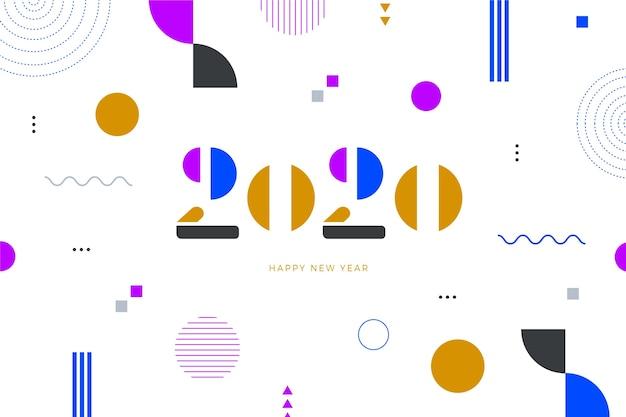 Data nowego roku z koncepcją memphis