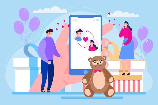 Data online na telefonie komórkowym ilustracji wektorowych miłość para mężczyzna kobieta postać randki w internecie społecznościowe ...