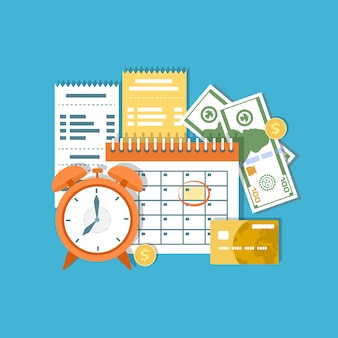 Data przyjęcia podatku. federalne opodatkowanie dochodów, rata miesięczna, okres. kalendarz finansowy, zegar, pieniądze, gotówka, złote monety, karta kredytowa, faktury. dzień wypłaty. ilustracja