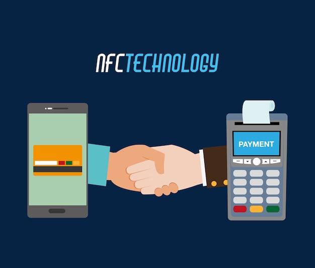 Dataphone z paragonem i smartfonem z kartą kredytową
