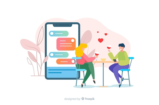 Datowanie koncepcji aplikacji z ilustracją chłopca i dziewczynki