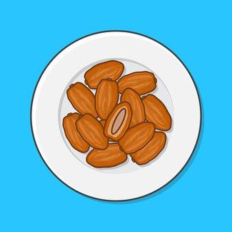 Daty owoców ramadan na ilustracji talerz. suszone owoce w stylu płaskiej