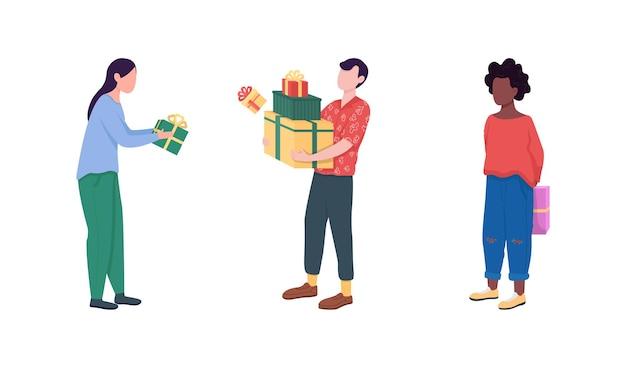 Dawanie i otrzymywanie prezentów płaski kolor ilustracja
