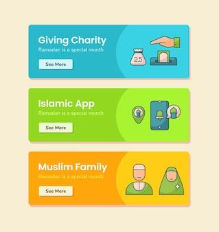 Dawanie muzułmańskiej rodziny islamskiej aplikacji charytatywnej dla szablonu transparentu z ilustracją projektu w stylu linii przerywanej