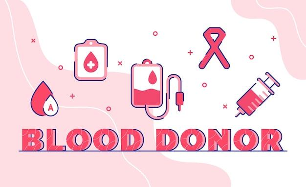 Dawca krwi. strzykawka ze wstążką worek krwi z konturem