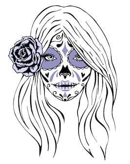 Day of dead makijaż twarzy dziewczyny w stylu vintage monochromatyczne na białym tle ilustracja dziewczyna ze szkieletem