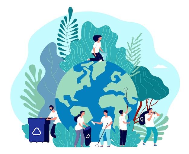 Dbaj o ziemię. ochrona środowiska, ludzie ratujący planetę, ekosystem zielonej energii, ekolodzy-wolontariusze, koncepcja płaskiego wektora. ilustracja dobrowolnie zbierać plastik, środowisko naturalne